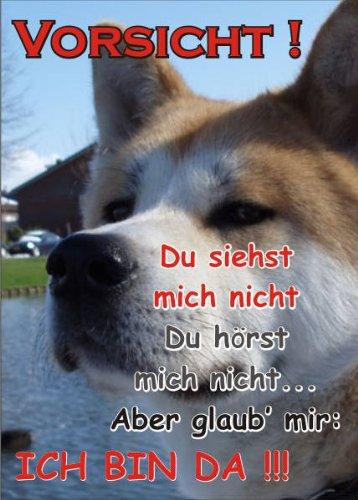 PEMA INDIGOS UG - Türschild FunSchild - SE73 DIN A5 Achtung Hund Akita Inu - für Käfig, Zwinger, Haustier, Tür, Tier, Aquarium - aus hochwertigem Alu-Dibond beschriftet sehr stabil