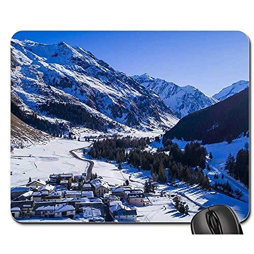 Mauspads Drohne Schnee Dorf Berg Frankreich Mauspad Mousepad Mauspad Mauspads Spielmatte 25X30cm