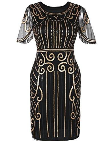 PrettyGuide Damen 20er Jahre Kleid Kurzarm Pailletten Cocktail Charleston Kleid M Gold