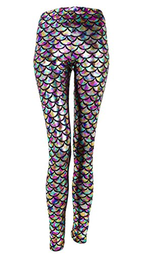 Ayliss New Mermaid Fish Scale Printed Leggings Stretch Tight Pants,Colorful L