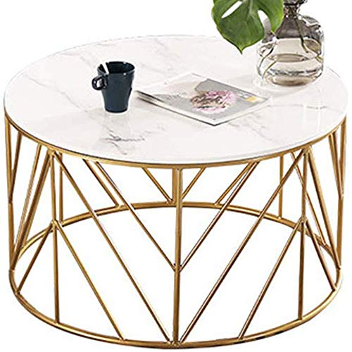 GRXXX Living Room Table Furniture Nordic Marble Coffee Table  Round Living Room Sofa Table   Iron Art Tea Table Creative Simple for Living Room,Sofa,Small Apartment,Office(Two Sizes),80x80x45 cm