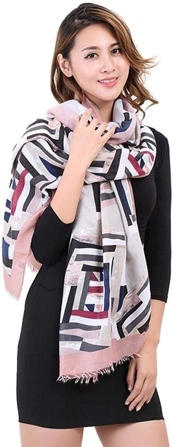 Womens Scarf Ladies Winter and Autumn White Keep Warm Cotton Pink Scarf Large Thickening Cappa Casual Fashion Solid color Wild for Women
