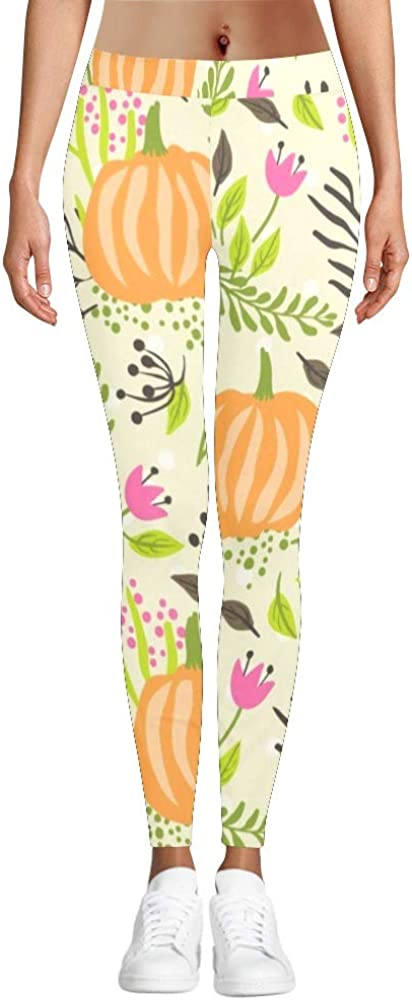 2XS-3XL Happy Thanksgiving Pumpkin Stretchy Capri Leggings Hight Waisted Skinny Pants for Yoga Running Pilates Gym