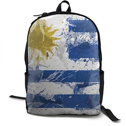 KLing Mochila Casual Mochila Multiusos antirrobo de Gran Capacidad para Correr en la Escuela Secundaria al Aire Libre - Pintura de Bandera de Uruguay, Mochila de Senderismo para Viajes