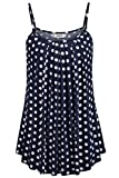 BEPEI Tunic Tank Tops for Women, Loose Casual Summer Pleated Flowy Sleeveless Camisole Polka Dot Tank Tops Navy Blue White Size XXL
