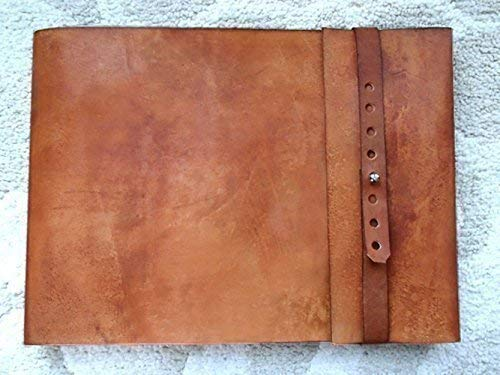 "9.5"" x 12"" Large Refillable Leather Sketchbook, Straight Edge with Metal Stud, leather sketchbook cover, large journal, guest book, refillable sketchbook, drawing book, sketching, drawing, art"
