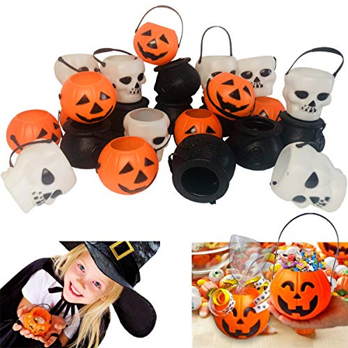 24 Pack Halloween Mini Plastic Candy Buckets Trick Or Treats Candy Holders for Halloween Decoration Halloween Party Favors Supplies Witch bucket/Pumpkin/and Skull