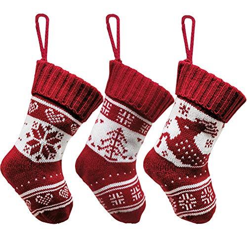 Frgasgds Christmas Stocking Hanging,3 Pieces Christmas Socks Hanging Fireplace Hanging Stockings Reindeer Xmas Stocking Set Knitted Stockings Christmas for Party Treat Xmas Decoration