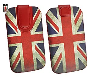 Emartbuy® Huawei P8 Union Jack Print Premium PU Leather Slide in Pouch Case Cover Sleeve Cover Holder (Size 4XL) With Pull Tab Mechanism