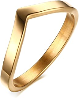 Dreamstone Stainless Steel Chevron Ring for Women,Gold,Size 6-9