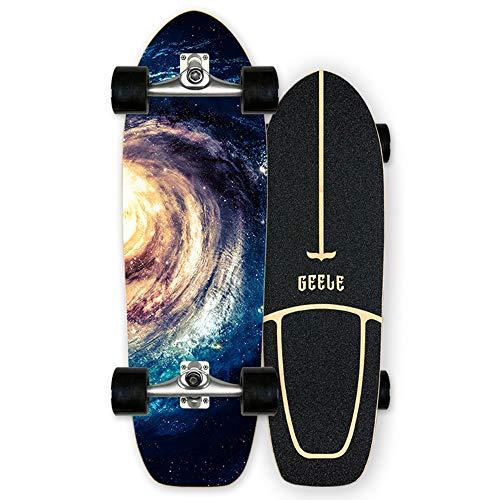 WRISCG Cruiser Skateboard Carver Komplettboard 78×14cm, 7-lagiges Ahornbrett, High Speed ABEC Kugellagern, 85A Rollen 70×51mm, für Kinder, Jugendliche und Erwachsene,D
