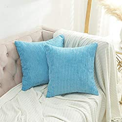 FEATURES:45 x 45cm(18 x 18 Inches), tailored for 45 x 45cm insert. MATERIAL: This supersoft, flocking striped corduroy cushion cover is made of 100% high quality polyester. PACKAGE: Include 2 pieces of cushion covers. NO CUSHION INSERT. EASY INSERTIO...