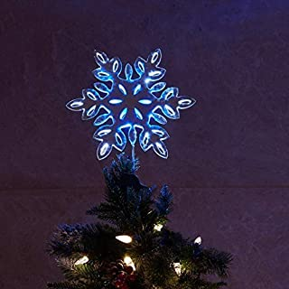 """Padoo 12"""" Silver Hollow Snowflake Tree Top Lights with 16LED Blue White Lights and 6 White Fairy Light for Christmas Tree Decoration"""