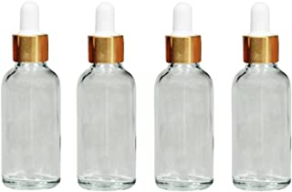 4PCS Glass Dropper Bottles-Essential Oil Perfume Makeup Cosmetic Eye Liquid Storage Containers with Glass Pipette(Transparent) (30ml)