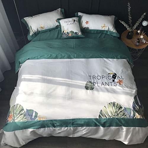 Teyun. Banana Leaf Satin Baumwolle Bestickt Grüne Bettwäsche, komfortable Vier-Stück (Color : Multicolor, Size : 200CM)