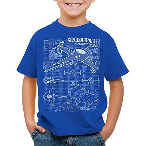 A.N.T. Bebop Swordfish II T-Shirt pour Enfants Anime Mono Racer Cowboy, Couleur:Bleu, Taille:104