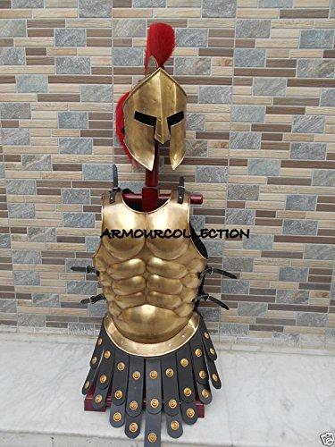 Muskel-Anzug, wie in griechischen Filmen, Rollenspiel, 300 Spartan-Helm mit roter Pflaumenjacke