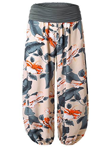 BAISHENGGT Pants for Women Elastic Waist Harem Pants X-Large Apricot-Floral 2