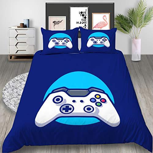 Ropa de Cama con Gamer Gamepad 3D Funda Nórdica Funda de Almohada Controlador de Videojuegos Creativa Impresión Moda Bedding para Niño Adolescentes Chico (Azul, 180x210cm Cama 90 cm)
