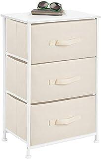 mDesign commode 3 tiroirs – table de chevet en tissu, métal et MDF – table de nuit décorative pour la chambre à coucher, é...