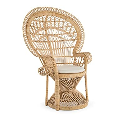 KOUBOO 1110022 Grand Pecock Chair Peacock Rattan with Seat Cushion Color, Large, Natural