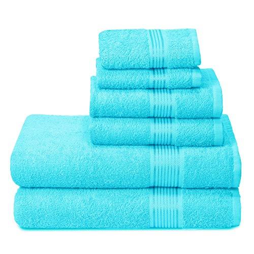 GLAMBURG Ultra Soft 6er-Pack Baumwoll-Handtuch-Set, enthält 2 übergroße Badetücher 70 x 140 cm, 2 Handtücher 40 x 60 cm und 2 Waschbetten 30 x 30 cm, Türkis Blau