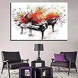 baodanla Sin Marco Impresiones en Lienzo HD Poster Living Room Wall Art Framework 1 Pieza/Piezas Acuarela Abstracta Piano ngs Música Imágenes Decoración para el hogar30x40cm