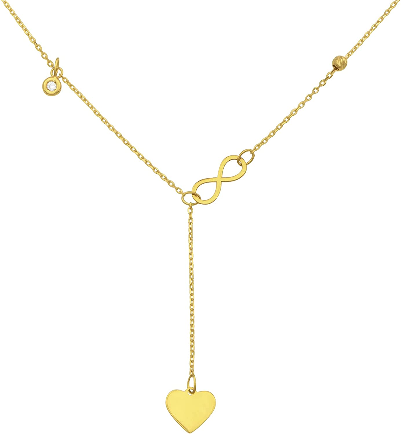 """14k Italian Solid Yellow Gold """"Love You Forever"""" Infinity Heart Pendant Delicate Lariat Y Drop Necklace with 0.02 ct Diamond, Adjustable 16"""" or 18"""""""