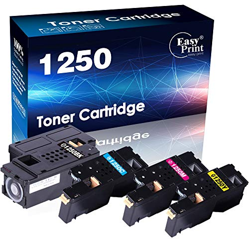 (4-Pack Set) Compatible 1250 Toner Cartridge Used for Dell 1250c Dell 1350cnw Dell 1355cn Dell 1355cnw Dell c1760nw Dell c1765nf Dell c1765nfw Printer (BK+C+M+Y), by EasyPrint