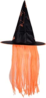 Amosfun Cappello di Halloween Cappello Strega Costumi di Halloween Vestire cap Parrucca Cappelli Puntelli di Trucco per Cosplay Party Festival Masquerade Rosa