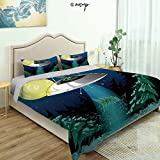 Homenon Three-Piece Suit Fun Design Bed Set, Alien with Santa Claus Hat Kidnaps Tree for Christmas Night Airship Fine Printed Oversize Quilt Set Queen/King Size Bed Cover (King)