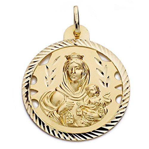 Medalla Oro 18K Virgen Del Carmen 30mm. [Aa0563Gr] - Personalizable - Grabación Incluida En El Precio