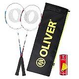 Set de badminton   Oliver Power P500   Juego de badminton   2 raquetas de badminton 3 volantes y funda