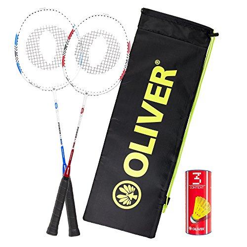 Oliver Badminton-Set - 2 Schläger (Power P500) + Bälle + Hülle