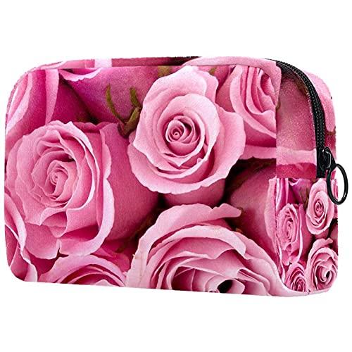 Beste Pink Rose Wallpaper, Make-up Bag Travel Kleine Kosmetiktasche Case Organizer Kleine Toilettenartikel für Frauen Geldbörse Tote Handtasche DIY Design