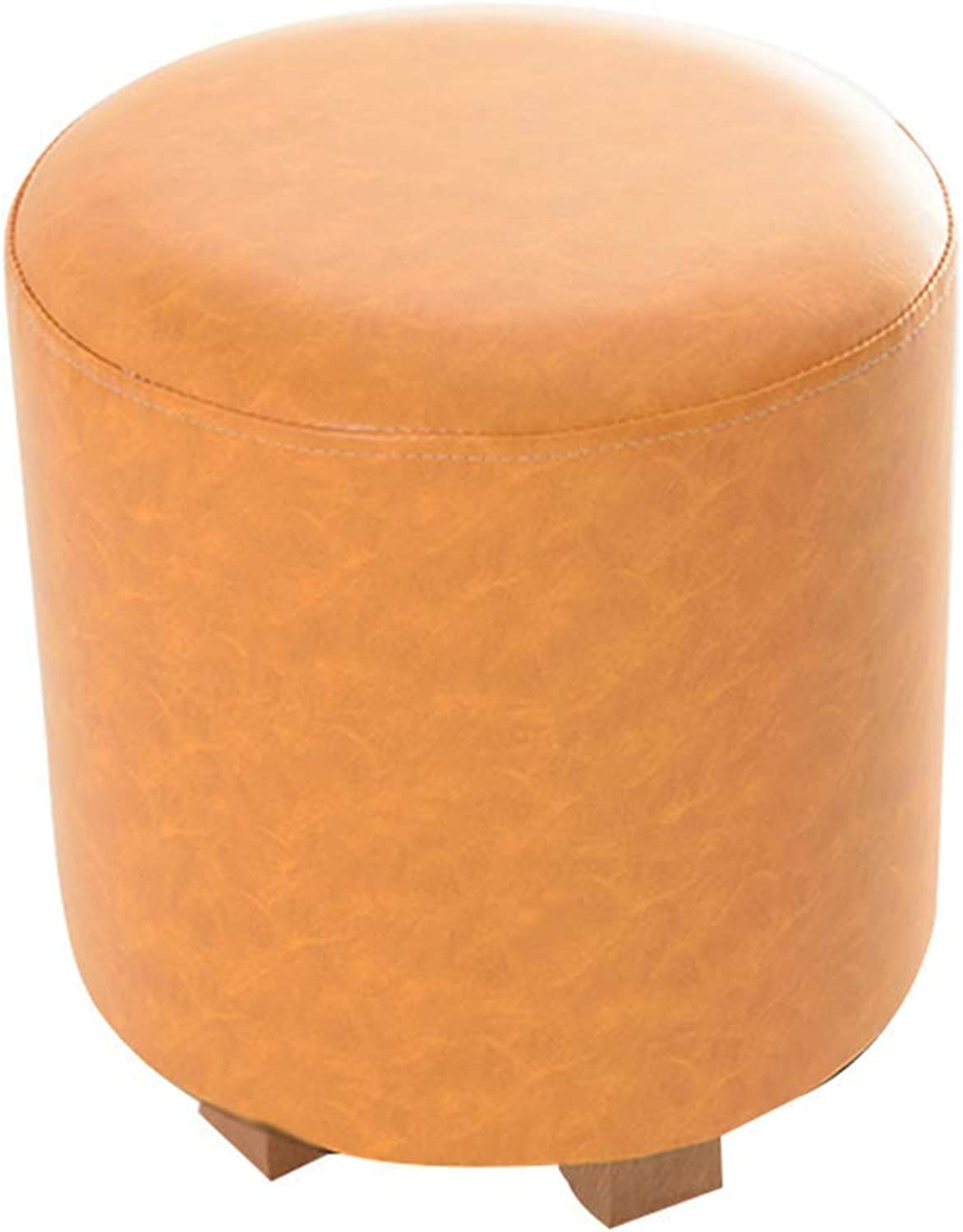 Round orange Footstool with Wood Faux Leather for Living Room and Bedroom 31 X 30