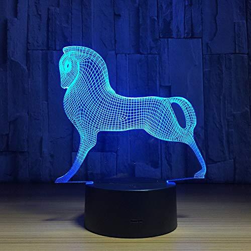 DGTJSISHIJIU Mignon Coloré Poney Cheval Jouets Mon Petit Poney 3D Illusion Night Light Night Lamp Bébé Enfants Sommeil Lampe