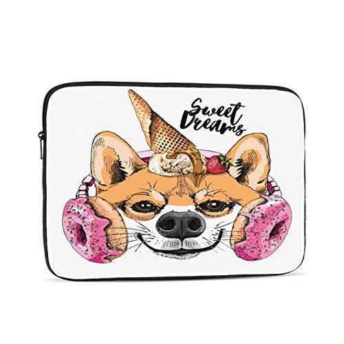 Porträt des lächelnden lustigen Boston Terrier Dog Valentines Cupcakes Kopfhörer für Pink Donuts. Laptop-Hülle kompatibel für Apple MacBook Mac Acer Aspire Samsung Lenovo Surface Book HP Laptop-Abdeck