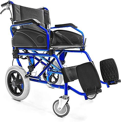 AIESI Sedia a rotelle pieghevole Super-leggera da transito in alluminio con freno per disabili ed anziani AGILA TRANSIT # Doppio sistema di frenata # Cintura di sicurezza # Garanzia Italia 24 mesi