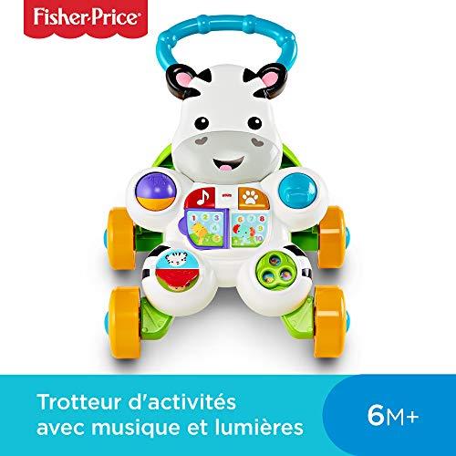 Fisher-Price Mon Trotteur Zèbre Parlant pour apprendre à marcher avec musique et...