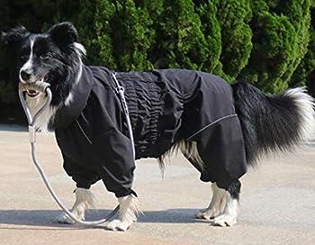 Morezi Manteau de pluie pour chien avec col haut imperméable pour chien réfléchissant à quatre pattes pour chiots de petite et moyenne taille – Noir – M