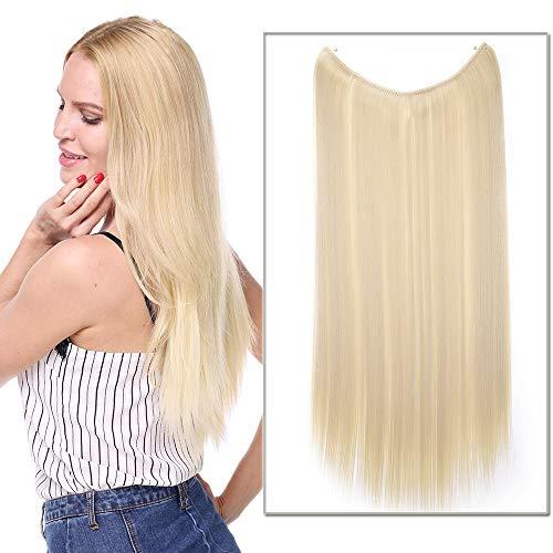 24 Pouces Extension A Fil Invisible Cheveux Elastique Synthetique Rajout Cheveux Lisse Sans Clips Sans Colle Wire In Hair Extension, Blond Très Clair