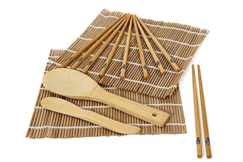Tekis Bamboo Kit Sushi- Sushi Kit- Set sushi completo per principianti-9 pezzi include 2 tappetini per sushi in bambù- 5 paia di bacchette- 1 paletta per riso- 1 spatola per riso