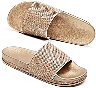 Women Crystal Summer Slippers Platform Wedges Bling Shining Female Beach Shoes Thick Bottom Flip-Flops Anti-slip Sandals Shiny outdoor slippers (Color : Gold, Shoe Size : 8.5)