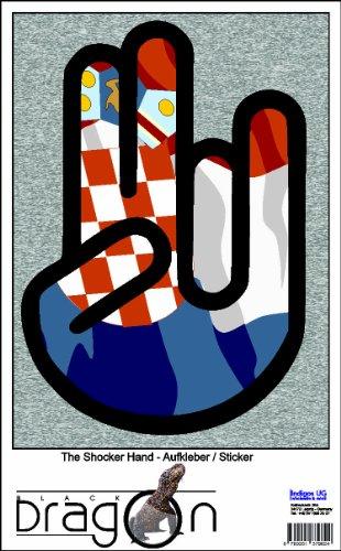 THE SHOCKER HAND - AUFKLEBER / AUTOAUFKLEBER - Decal Sticker 15cm außenklebend - schwarzer Umriss mit Fahne / Flagge - Croatia-Kroatien
