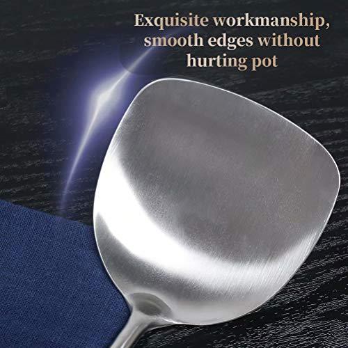 Newness Espátula para Wok, 304 Acero Inoxidable Espátula de Cocina Turner Espátula con Mango de Madera Resistente al Calor, 38.2 cm