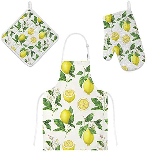 U Life Kitchen Apron with Pocket Oven Mitt Glove Pot Holder Mat Set Yellow Green Lemon Floral product image