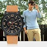 VA-504 Reloj de Pulsera de Cuarzo de Negocios con Banda de Cuero Informal para Hombre Chaki