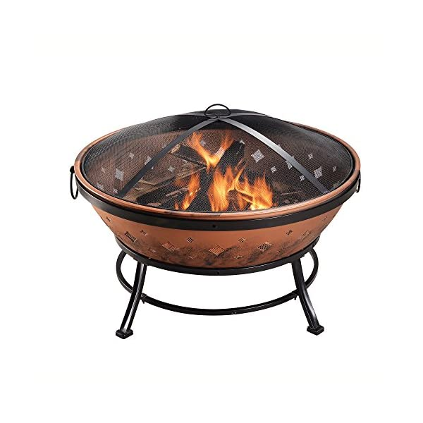 Peaktop FP35 Outdoor 35-Inch Round Steel Wood Burning Fire Pit