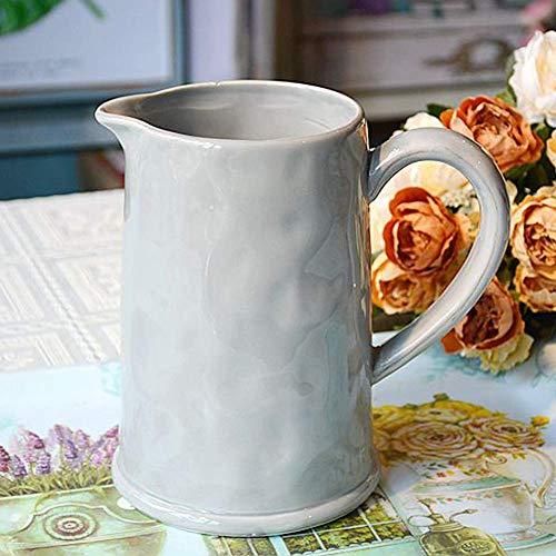SBDLXY Krug, antiker Grauer Wasserkrug Keramik Gartenkrug Krug Blumentopf Innen Geeignet zum Servieren von kaltem Wasser Kaffeemilch und Saft Getränkebar Karaffe, Geeignet für heißes und kaltes was
